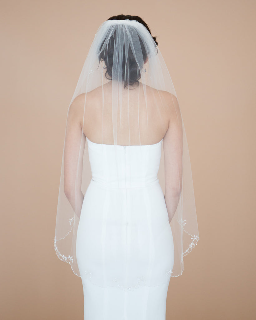 Beaded Fingertip Wedding Veil