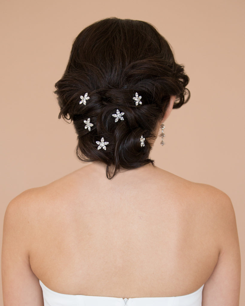 Silver Floral Bridal Hairpins
