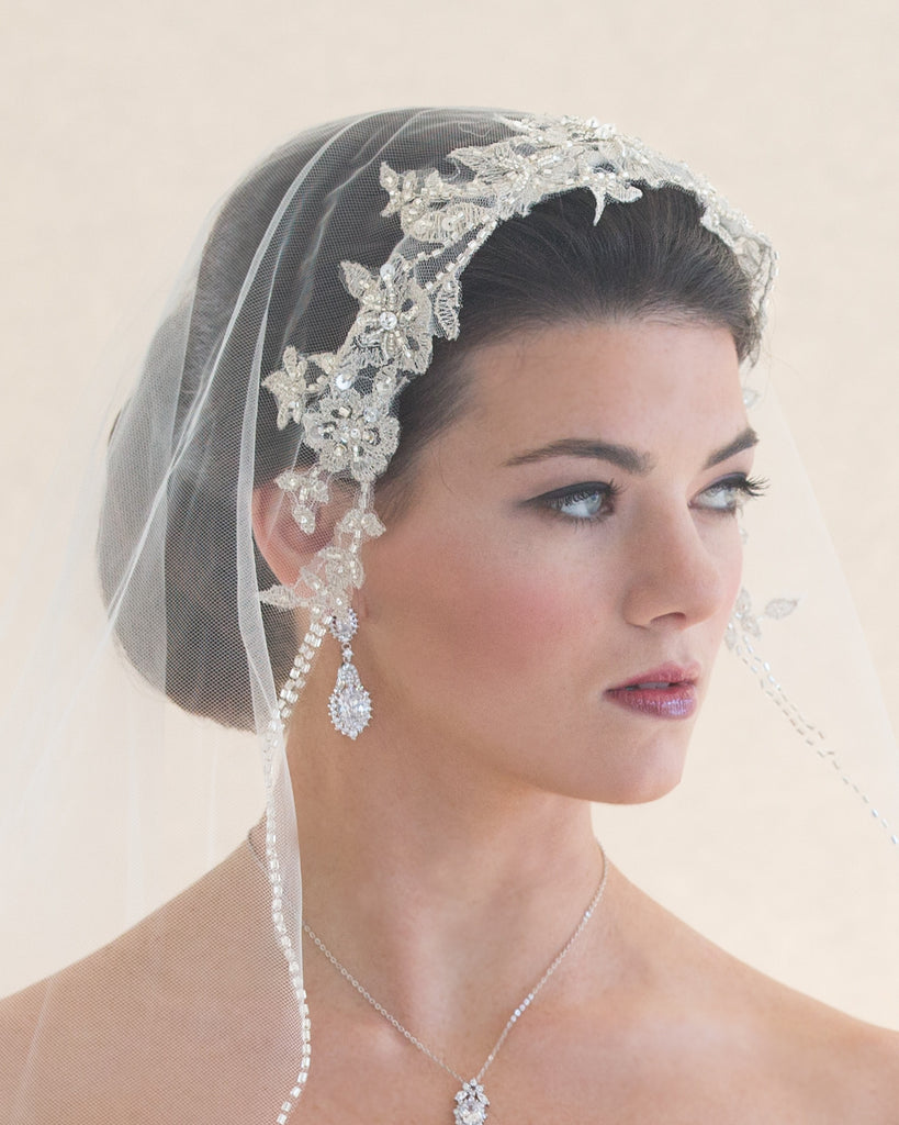 Beaded Lace Fingertip Wedding Veil