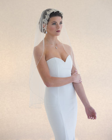 Fingertip Length Veil with Rolled Edge
