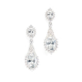 Silver Crystal Drop Wedding Earrings