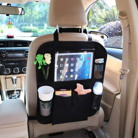 iPad and Tablet Holder with Car Seat Organizer - Touch Screen Pocket