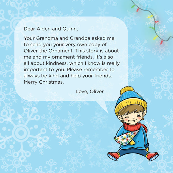 Sample personalization page to appear within your own hard-bound copy of Oliver the Ornament