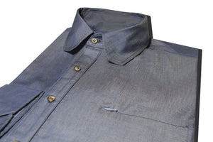 Mitered Details Chambray Button-Up