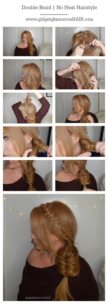 no heat double braid hair tutorial with extensions long human hair