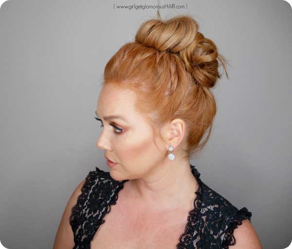 fancy updo with extensons volume easy tutorial