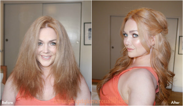 before and after hair transformation with best quality extensions strawberry blonde redhead wedding diy bridal easy
