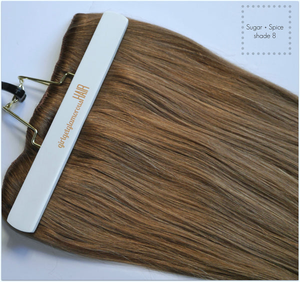 "girl get glamorous hair review remy hair clip in best quality medium brown double drawn 16"" brown sugar"
