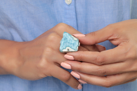 Larimar ring for women