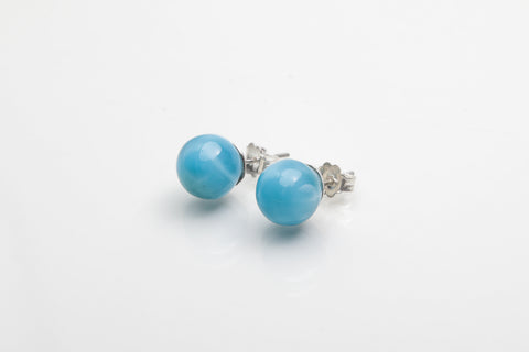 Larimar round beads errings