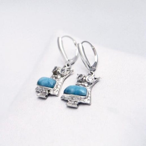 Larimar Earring, Dangling Owls