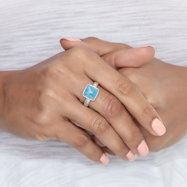 Square Larimar Ring, Gabby