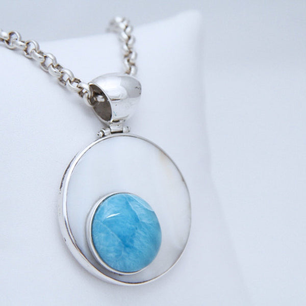 larimar and mother pearl pendant