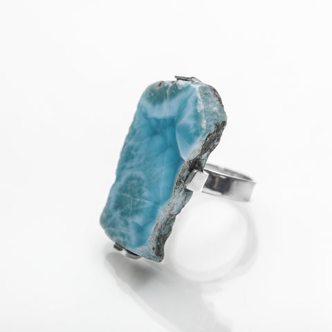 Raw Larimar ring