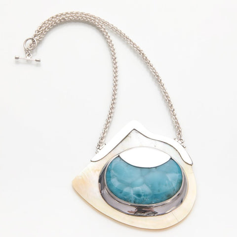 Larimar Seashell Pendant Necklace, Secret of the Sea