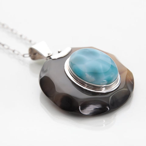 Larimar and Cow Horn Pendant