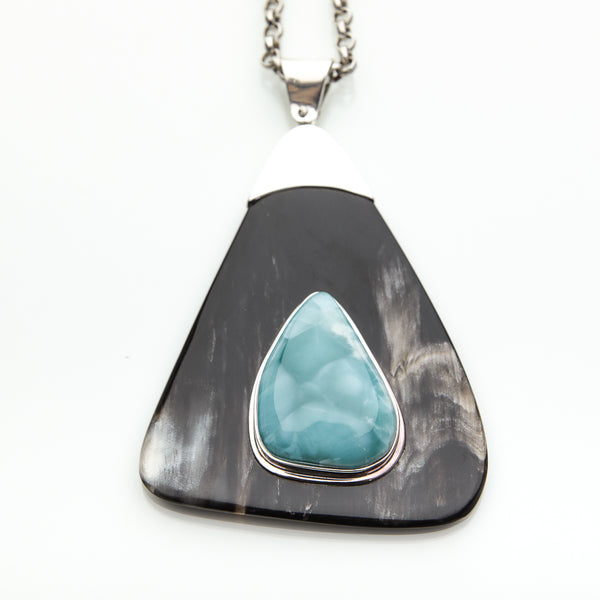 Larimar Cow Horn Pendant, Esther