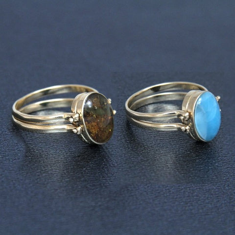 Larimar Amber Reversible Ring, 14K Gold