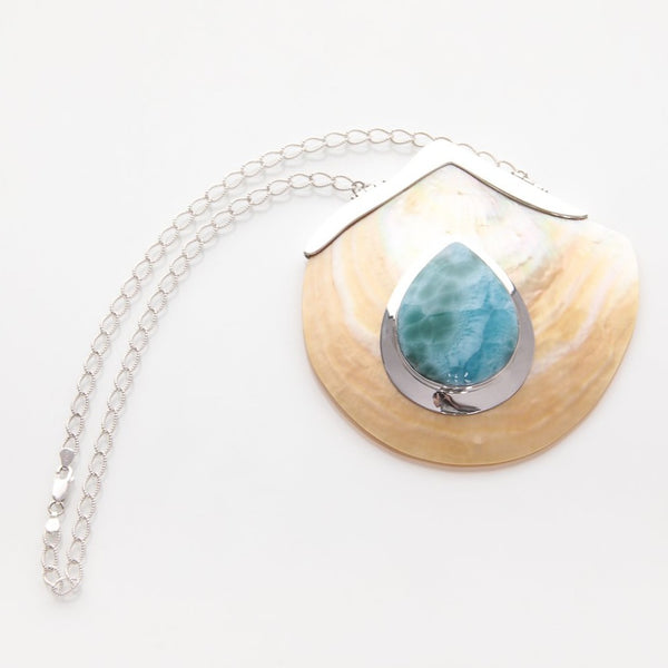 Larimar Seashell Pendant Necklace, Marla