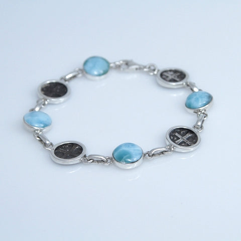 Larimar Antique Coins Replica Bracelet