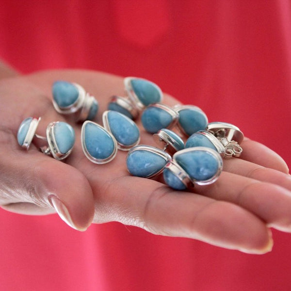 larimar studs earrings