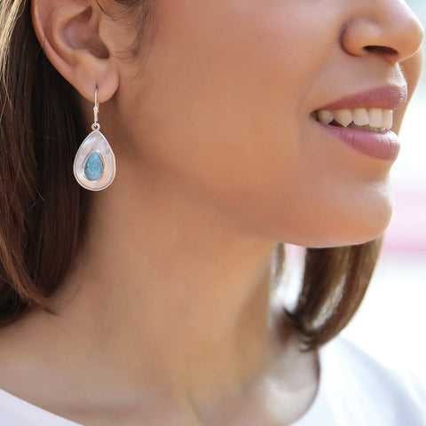 Larimar Mother Pearl Earrings, Mauvi