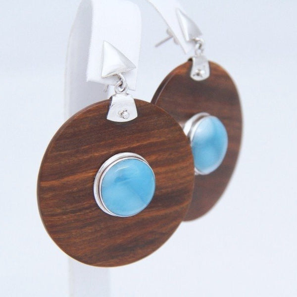 Larimar and Guayacan Wood Earrings