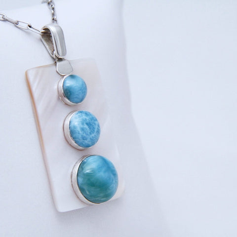 Larimar and Mother Pearl Modern Pendant