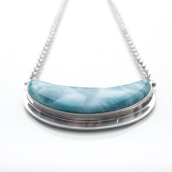 Larimar Moon Necklace, Inaaya