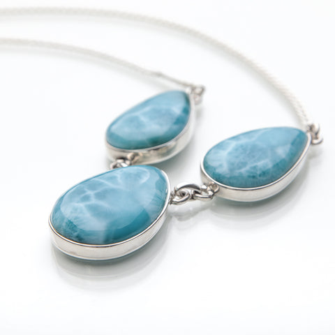 Larimar Necklace, Teardrop Shapes