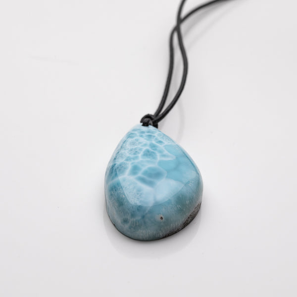 Leather Larimar Necklace, Isaias