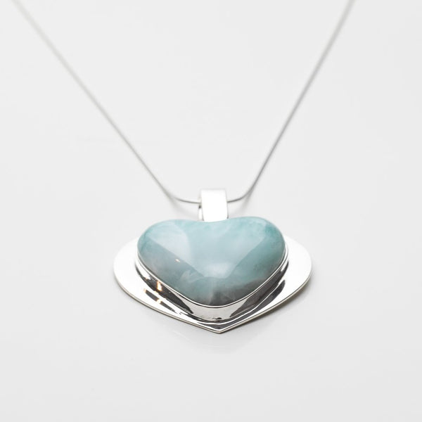 Larimar Heart Pendant, CLOUD XX
