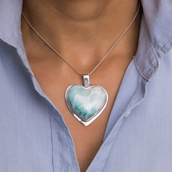 Larimar Heart Pendant, CLOUD XIX