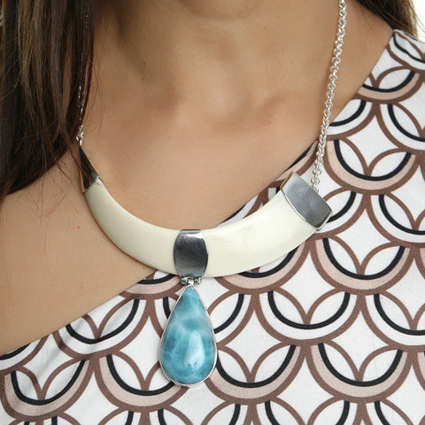 Wild Boar Tusk Larimar Necklace, Indi