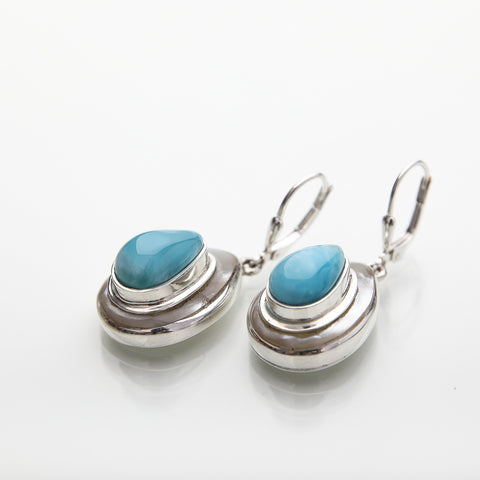 Larimar Earrings Pendant Set, Wintery