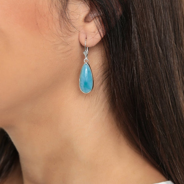 Larimar earrings, Juno