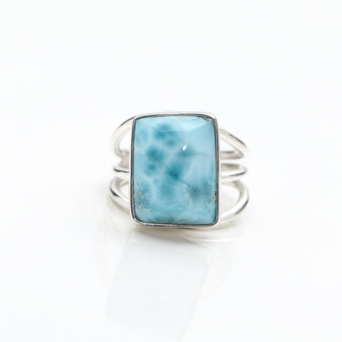 Square Larimar Ring, Eu