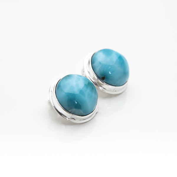 Round Larimar Clip On Earrings, Maggie