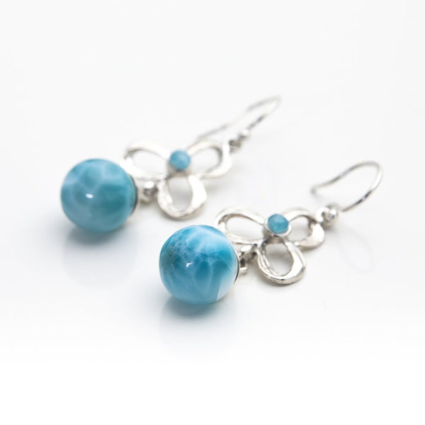 Larimar Bead Earrings, Iamdra