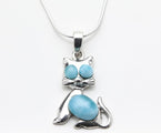 Blue Larimar Pendant, Kitty (Cat Pendant)