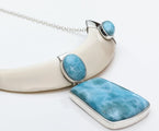 Wild Boar Tusk Larimar Necklace, Dove