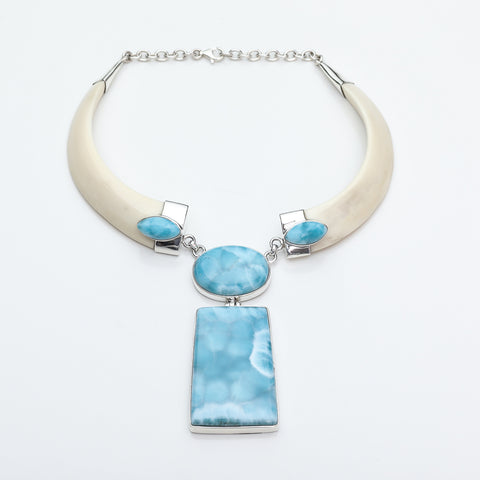 Wild Boar Tusk Larimar Necklace, Venus