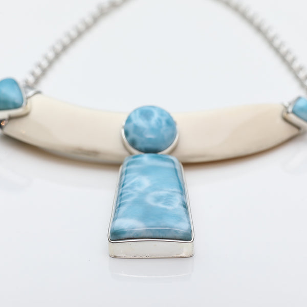 Wild Boar Tusk Larimar Necklace, Gale