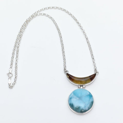 Larimar Amber Pendant Necklace, Mary