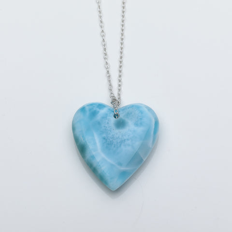 Larimar Heart Pendant Necklace, Anya