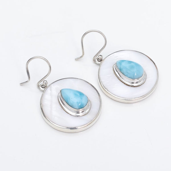 Larimar Mother of Pearl Earrings, Zuri