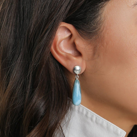 Teardrop Larimar Earrings, Eliza