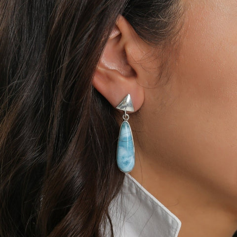Teardrop Larimar Earrings, Liv