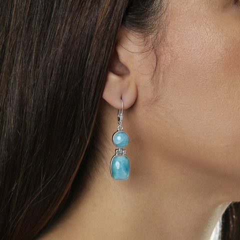 Larimar Stone Earrings, Alma