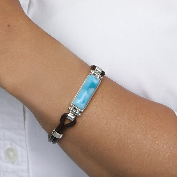 Larimar Leather Bracelet, Daphne B.